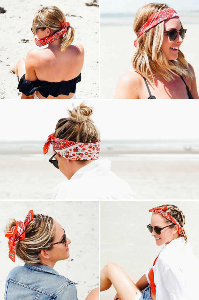 5 Ways To Wear A Bandana Scarf In Your Hair Red White Denim